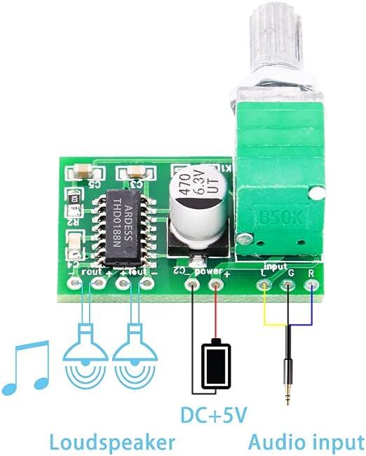 10 stücke digitale dc 5 v verstärkerplatine klasse d 2x3 watt usb power