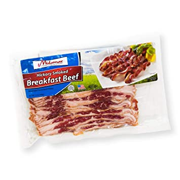 Halal Hickory Smoked Breakfast Beef Strips - 12, 12 ounce packages
