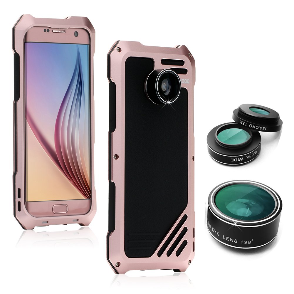 Samsung Galaxy S7 Edge Camera Lens Accessories Kit, OXOQO Shockproof Aluminum Case with 3 in 1 198° Fisheye Lens + 15X Macro Lens + Wide Angle Lens, Rose 6025779521574