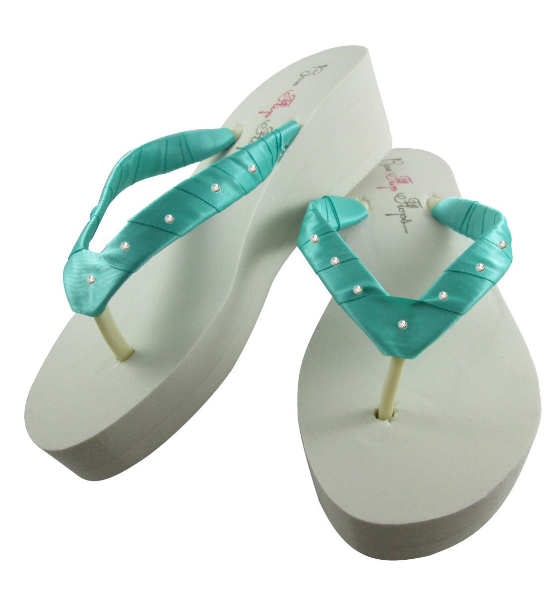 cc4a6d1605e0a Amazon.com  Teal   Tropic Green Swarovski Rhinestone Accent Wedge Flip Flops  in Ivory or White
