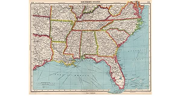 Amazon.com: USA SOUTHERN STATES. Florida Georgia LA MS AL NC ... on idaho map, missouri map, florida georgia city, florida georgia flag, south carolina map, florida georgia alabama, florida georgia history, new york map, florida georgia outline, florida georgia game, alabama map, tennessee map, maine map, oklahoma map, florida georgia weather, florida georgia logo, florida georgia water, virginia map,