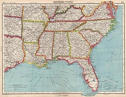 Map Of Usa Florida.Amazon Com Usa Southern States Florida Georgia La Ms Al Nc Sc Tn