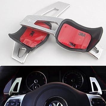 Pynxn - 1 par para dirigir Escarabajo de VW Scirocco Touareg Coche Rueda de Paleta de Cambio DSG Paddle Extensišn de Coches Accesorio [Plata]: Amazon.es: ...