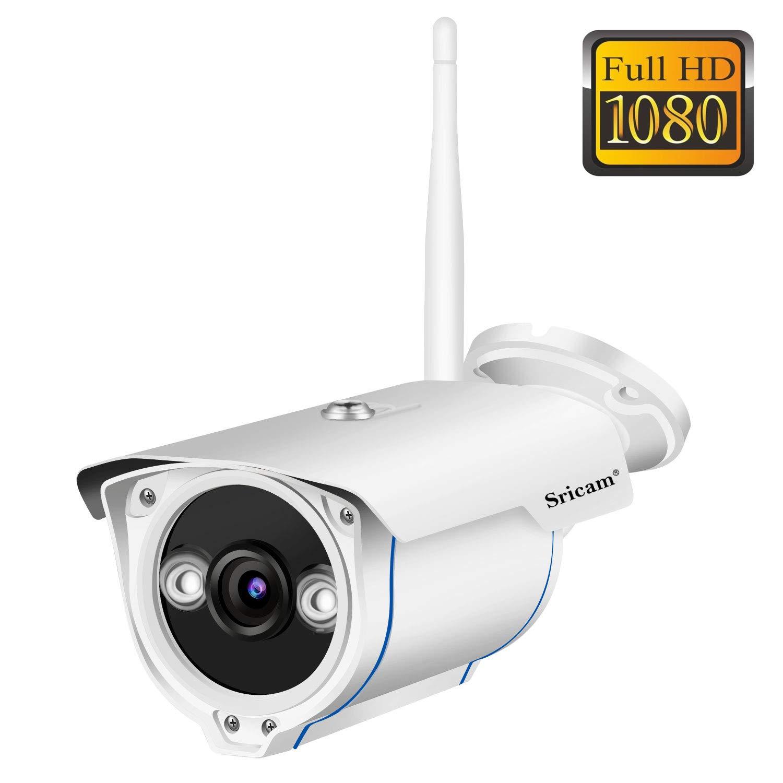Sricam SP007 Cámara de Vigilancia Wifi Exterior, Visión Nocturna, HD 720P Impermeable IP66, Seguridad Exterior, Detección de Movimiento, Email Alarma ...
