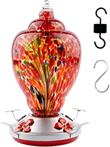WOSIBO Hummingbird Feeder for Outdoors Patio Large 34 Ounces Colorful Hand Blown Glass Hummingbird Feeder with Ant Moat Hanging Hook, Rope, Brush and Service Card (RED-Firework)