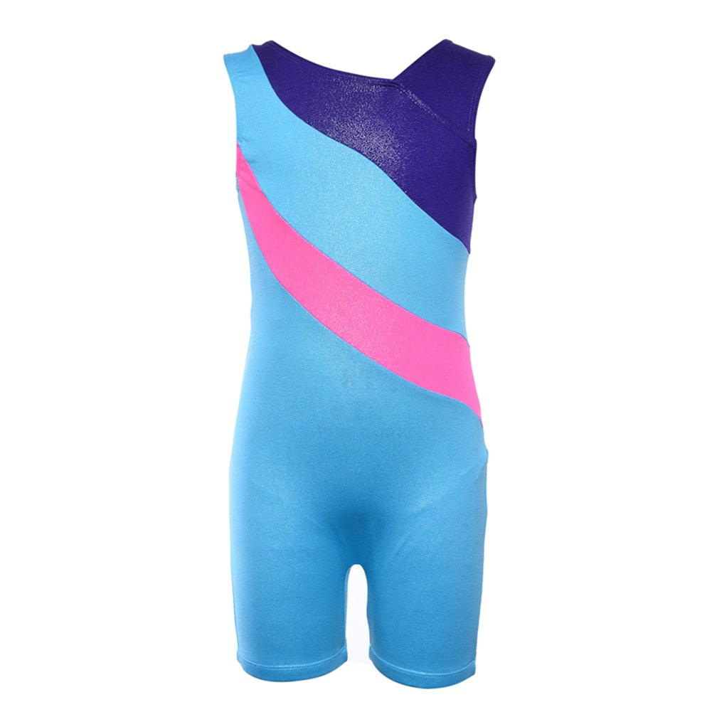 Kokkn Girls One-piece Colorful Ribbons Gymnastic Leotards Sleeveless Dance Leotards (Lake Blue, 10-11 years old) by Kokkn