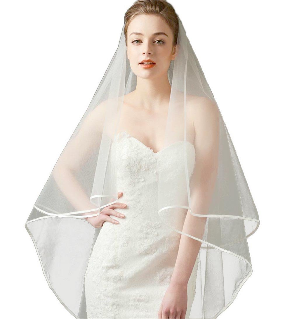 2 Tier Ribbon Edge Simple Elegent Wedding Veil No Comb (Ivory-3)