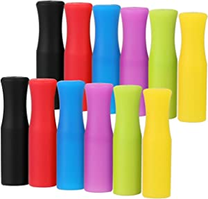 12PCS Silicone Straw Tips, Multicolored Food Grade Straws Tips Covers Only Fit for 1/4 Inch Wide(6MM Outdiameter) Stainless Steel Straws