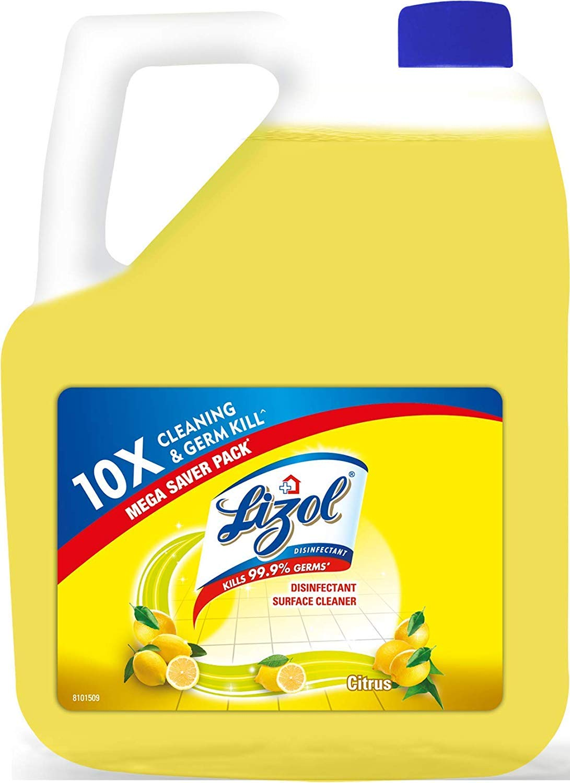 Lizol Disinfectant Surface & Floor Cleaner Liquid, Citrus - 5 L   Kills 99.9% Germs