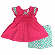 Infant Girls Pink & Mint Green Shirt & Floral Shorts Set Ruffle Outfit 24m