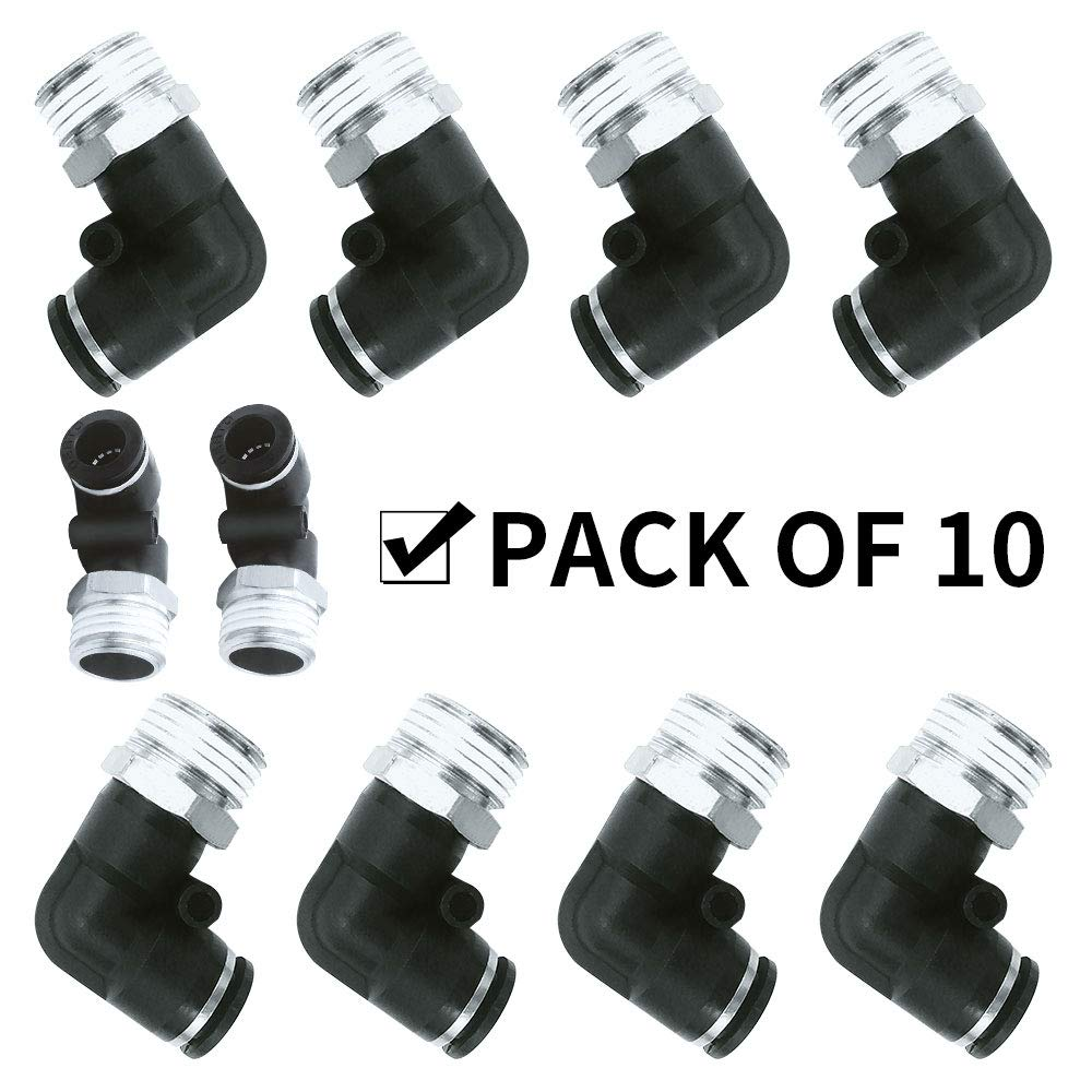 Pack of 10 Avanty Nickel Plated Brass Push to Connect Tube Fitting 8mm OD x 1//8 NPT Male 8mm OD x 1//8 NPT Male Pack of 10 90 Degree Male Elbow