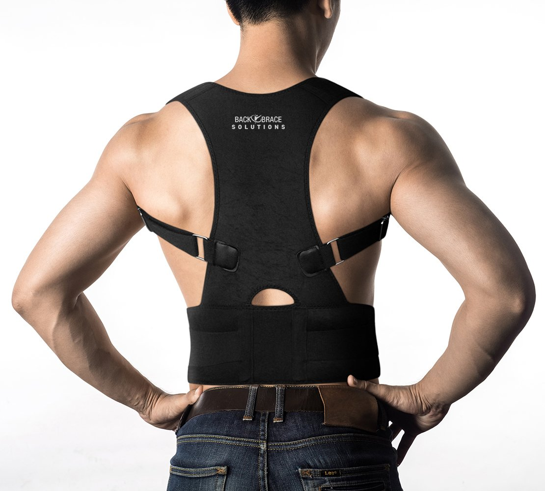 Posture Corrector Back Brace - Medical Grade Adjustable Posture Support and Clavicle Support with Lower Back Lumbar Belt. Improve Bad Posture and Relieve Back Pain for Men and Women