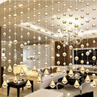 GUOYIHUA Crystal Clear Garland Hanging Bead Curtain,Clear Iridescent Faux Crystal Beaded Curtain Door String Curtain Wall Panel Fringe