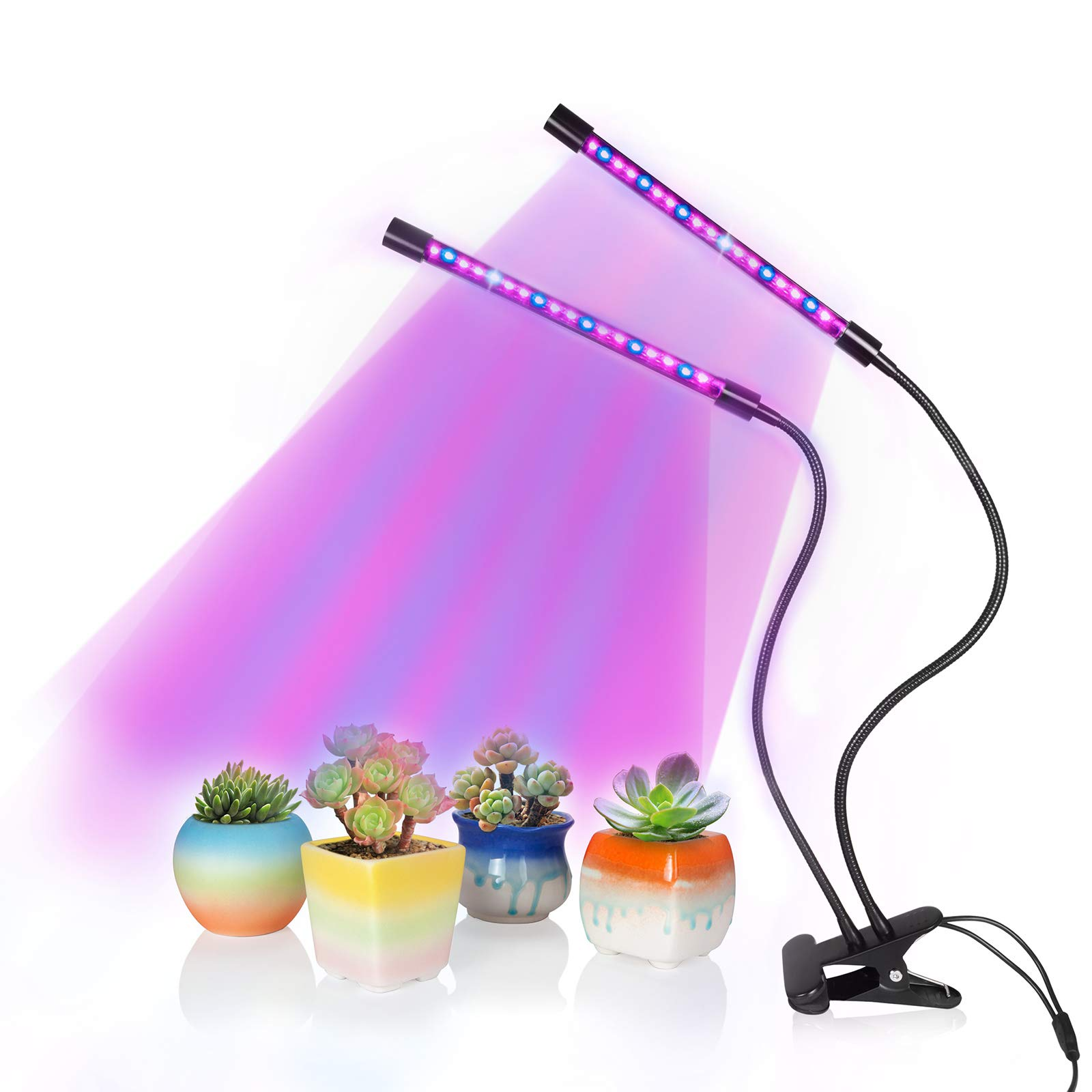 Plant Grows Lamp, SOLOFISH Dual Head 36 LED Full Spectrum Grow Lights with Brightness Adjustable and Timing Function for Plants Hydroponics Greenhouse Garden Home Office by Solofish