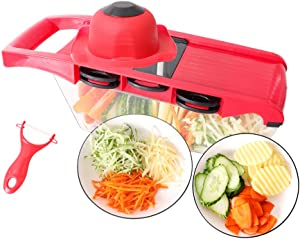 COOAK Vegetable Chopper, Mandoline Slicer Pro Onion Chopper 6 in 1 Food Dicer Veggie Cutter with Container Protected Interchangeable Blades Cheese Grater for Garlic Carrot Potato Tomato Fruit Salad