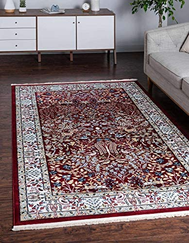 Unique Loom Narenj Collection Classic Traditional Hunting Scene Textured Burgundy Area Rug 10' 0 x 13' 0