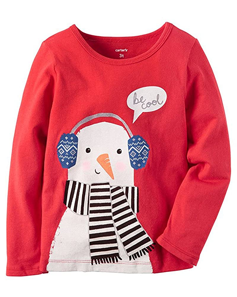 Carters Carters Girls Snowman Graphic L//S Tee 24m Red