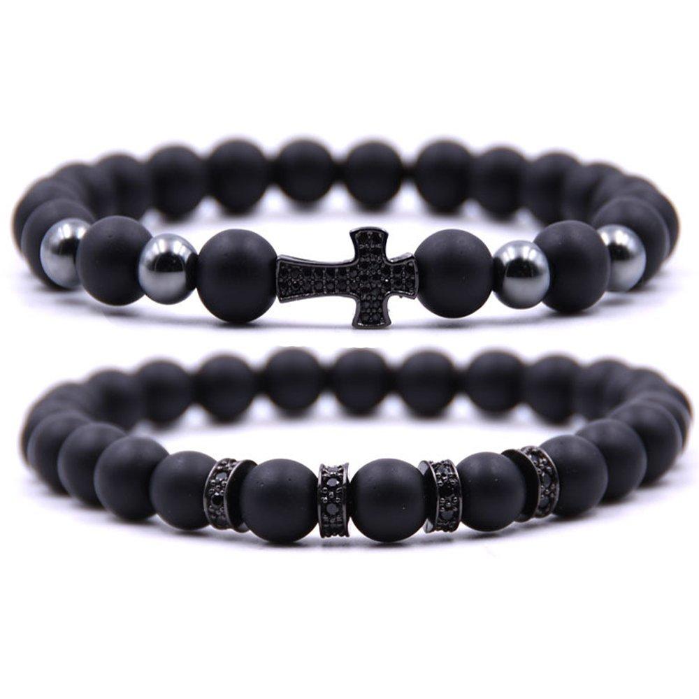 Dolovely 8mm Black Matte Onyx Beads CZ Cross Charm Bracelet Set for Men Women