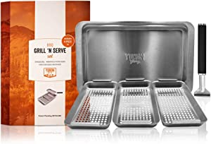 Yukon Glory Grill 'n' Serve BBQ Basket Set, Revolutionary Grill to Table Design, Includes 3 BBQ Baskets, Serving Tray + Universal Clip-on Handle. Patent Pending.