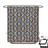 42 Inch Square Ottoman Ethnic Shower Curtains Mildew Resistant Moroccan Oriental Traditional Culture Motif Vintage Style Ottoman Royal Arabian Bathroom Decor Sets with Hooks W69 x L84 Multicolor