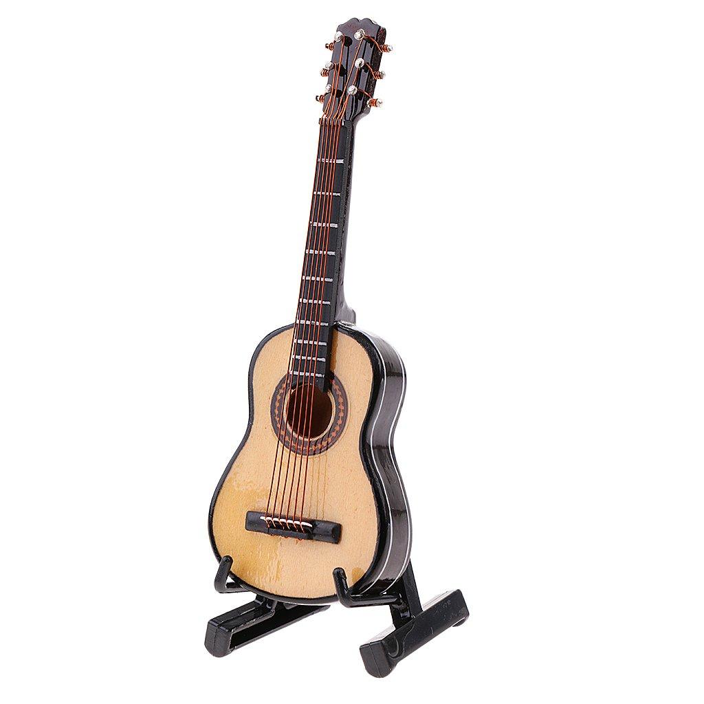 Baoblade Miniatur Holz Klassische Gitarre Puppenhaus Zubehör für 1:6 Puppenstube Dekoration - # 1