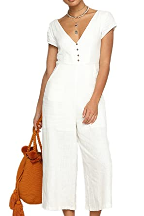 2b241873a23 Yacun Women s Deep V Cropped Jumpsuit Strapless Wide Leg Playsuit White L