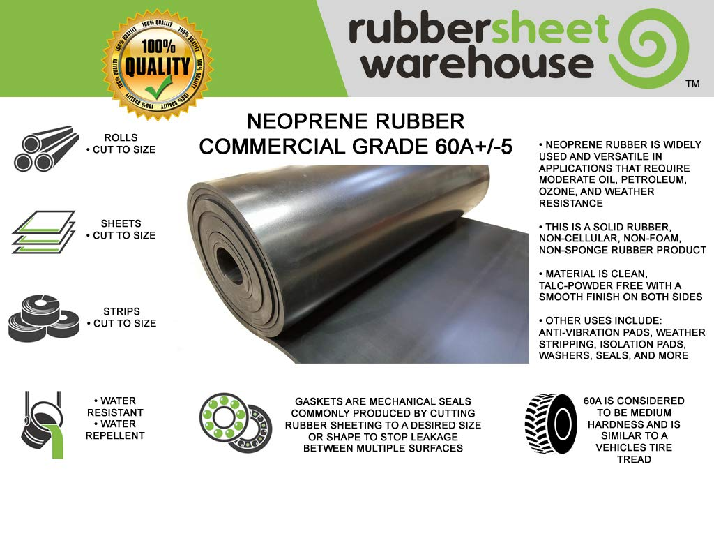 Thick x 12 Wide x 12 Long -Neoprene Rubber Strip Commercial Grade 65A Perfect for Weather Stripping Solid Rubber Costume /& DIY Rubber Sheet Warehouse .062 Smooth Finish 1//16 Gasket