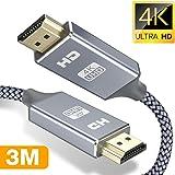 Snowkids 3m HDMI Kabel 4k HDMI 2.0 a/b Highspeed mit Ethernet,HDMI-Kabel 2.0/1.4a 60Hz,Ultra HD 4k 2160p,Full HD1080p,3D,ARC,HDCP 2.2,HDR,PS4/3,Xbox,PC,HDTV-Grau