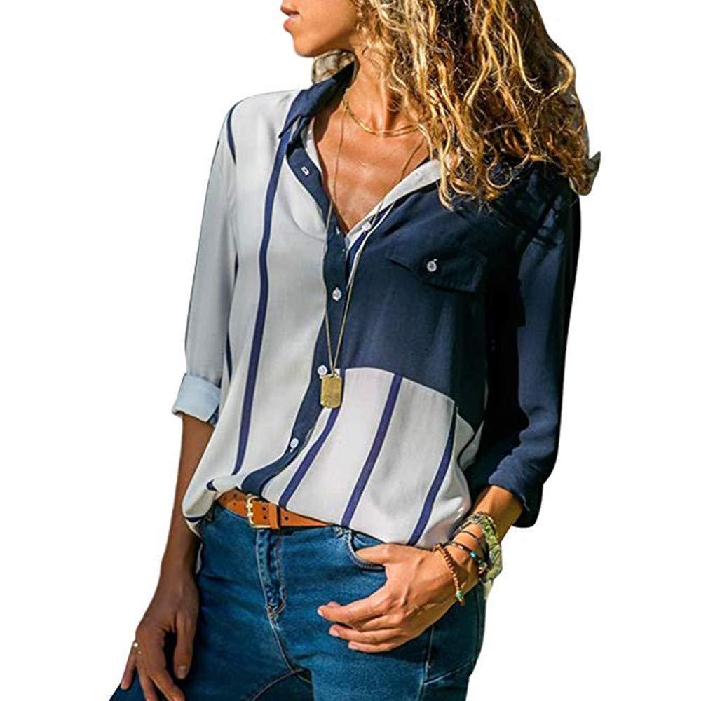Yvelands Camisas de Las Mujeres Slim Fit Casual Rayas con puño de Manga Larga con Cuello en v Button-Up Bloque de Color Blusa Tops Hot: Amazon.es: Ropa y ...
