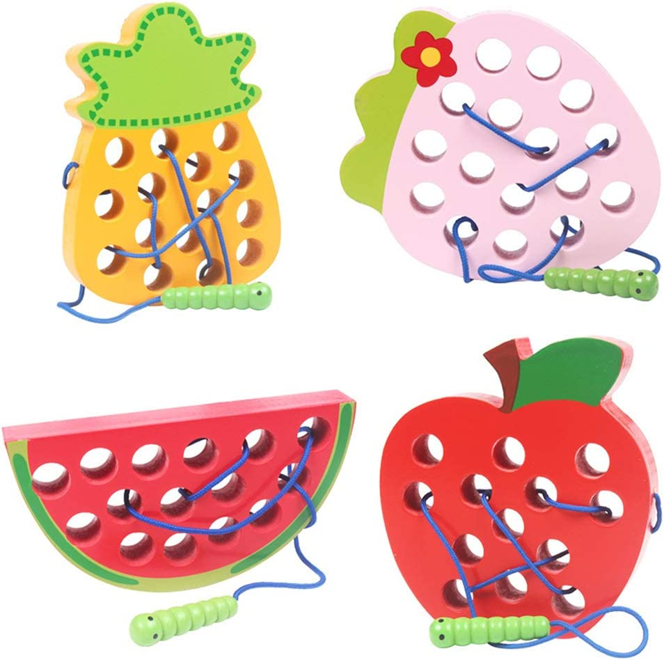 Gorei Wooden Lacing Fruit Threading Toys Wood Block Puzzle Travel Game Early Learning Educational Apple Watermelon Strawberry Pineapple Shape Toy Gift for 1 2 3 Years Old Toddlers Baby Kids