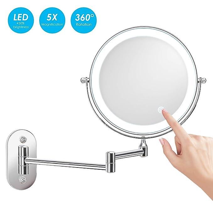 alvorog 8 Pulgadas Espejo de Aumento de Pared, Redondo de Pared Espejo de Baño Giratorio, Espejo de Maquillaje con luz LED 5X, Extensible y con ...