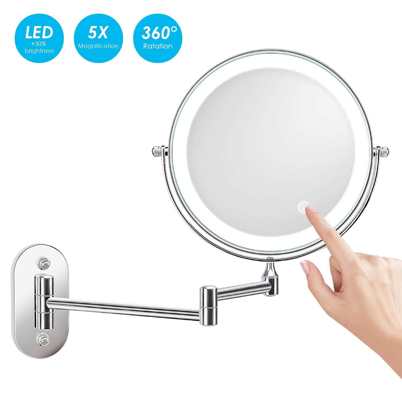 alvorog 8 Pulgadas Espejo de Aumento de Pared, Espejo tocador, con luz LED,