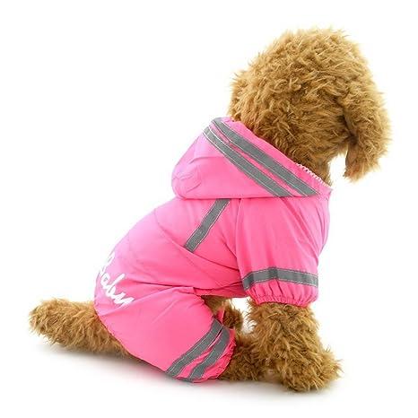 ZUNEA pequeño perro impermeable con capucha impermeable ...