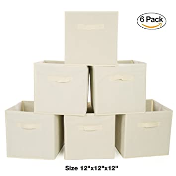 Exceptionnel Ideal Traditions Collapsible Fabric Storage Cubes U2013 Set Of 6 U2013 (Beige) U2013  Perfect