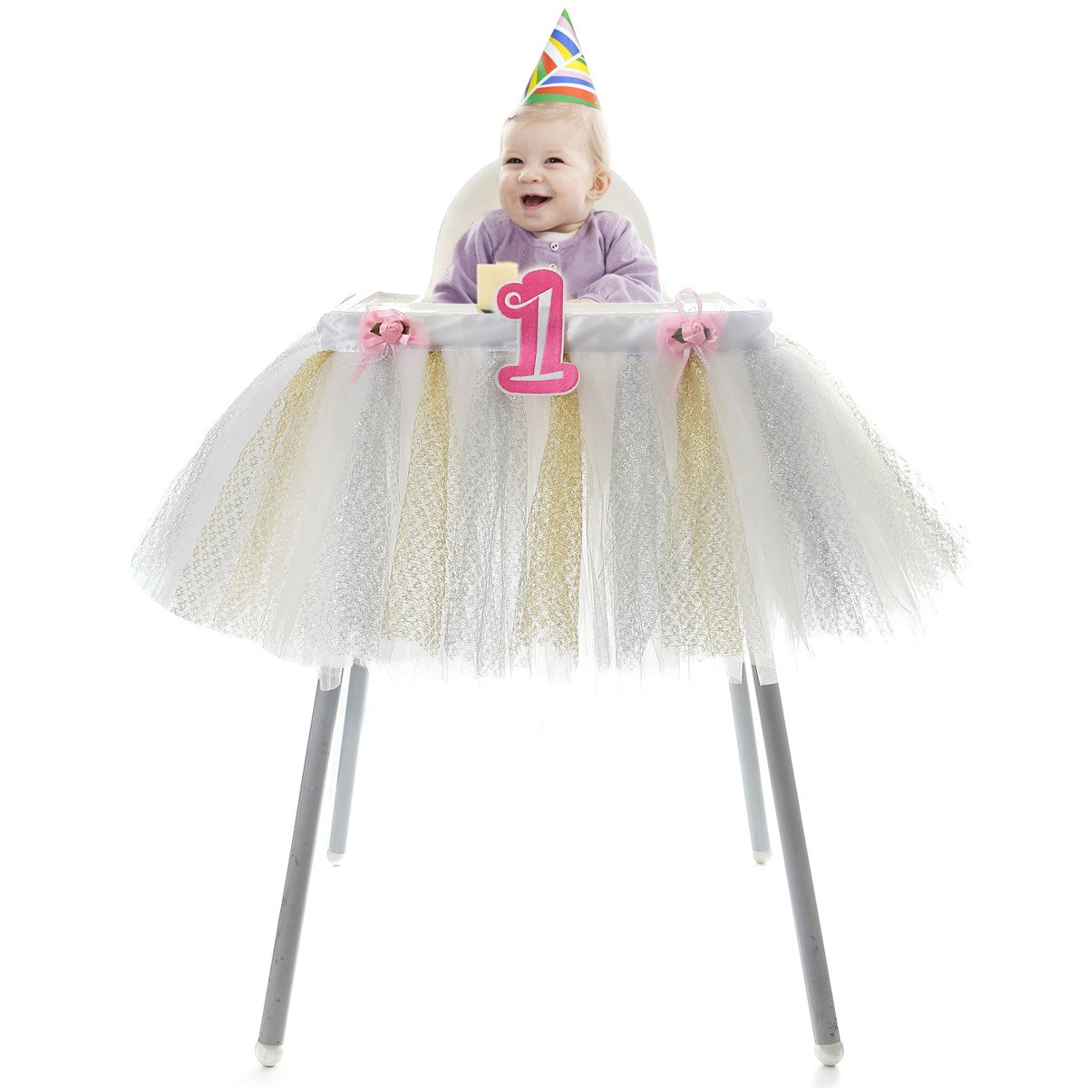 HB HBB MAGIC High Chair Skirt 1st Birthday Baby Girls Tutu High Chair