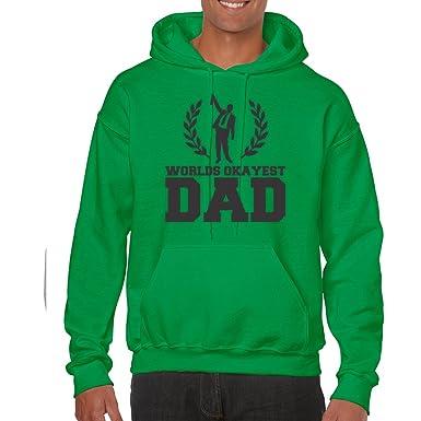 39c7cf92 AW Fashions World's Okayest Dad - Birthday Gift Unisex Hooded Sweatshirt  (Small, Kelly Green