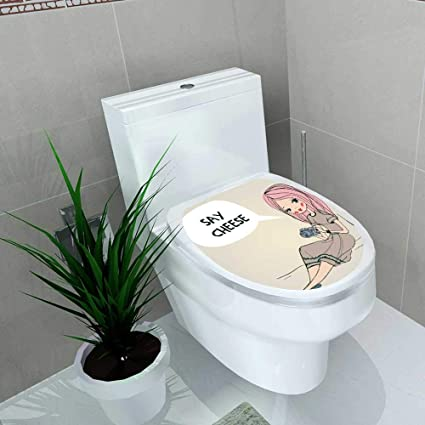 Pleasing Amazon Com Vanfan Bathroom Toilet Girl Camera Vinyl Decal Bralicious Painted Fabric Chair Ideas Braliciousco