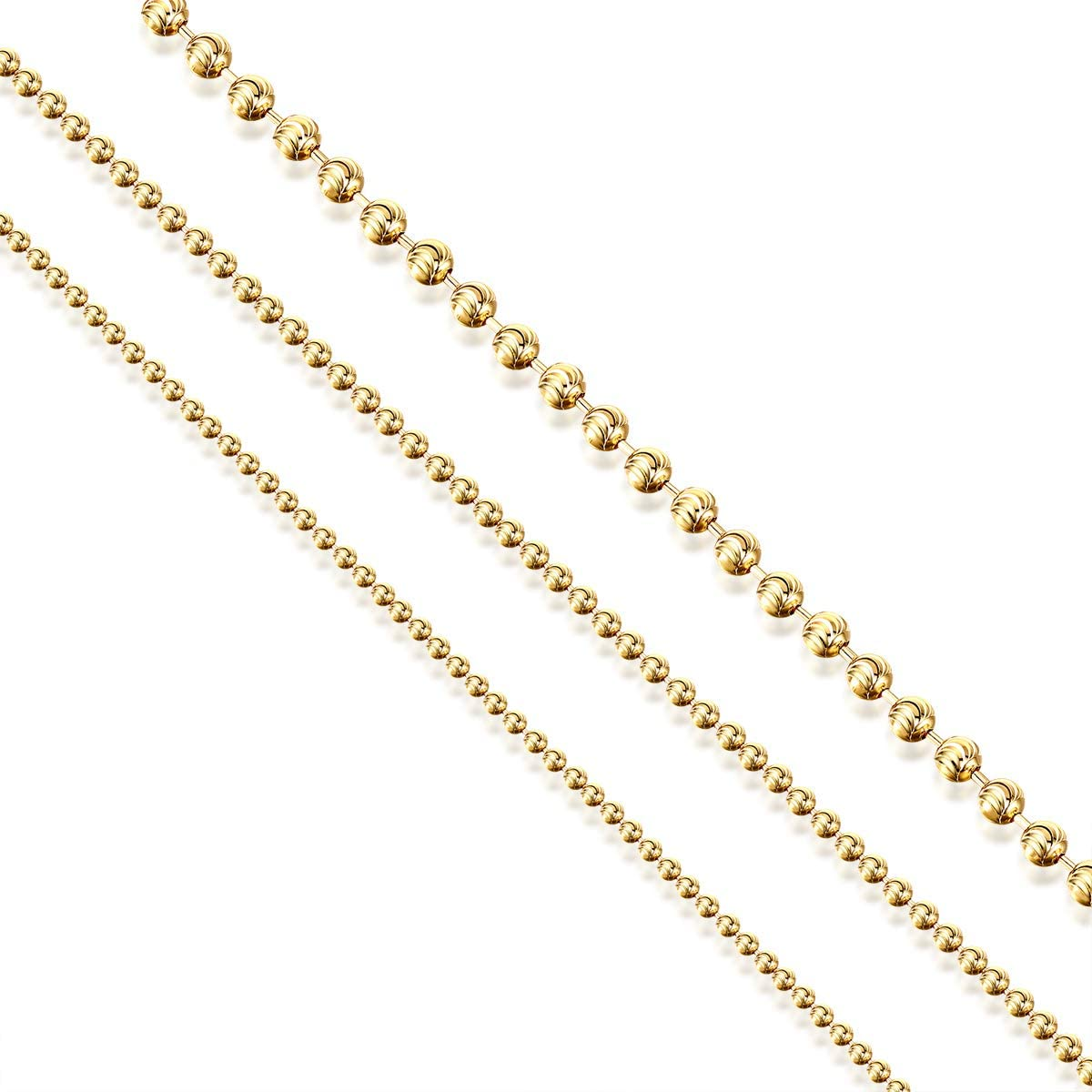 16-28 Inches AINUOSHI 2.0-5.0mm Solid/925/Italy Moon Cut Chain Necklace Yellow Gold Plated Sterling Silver Bead Ball Chain Necklace for Men /& Women