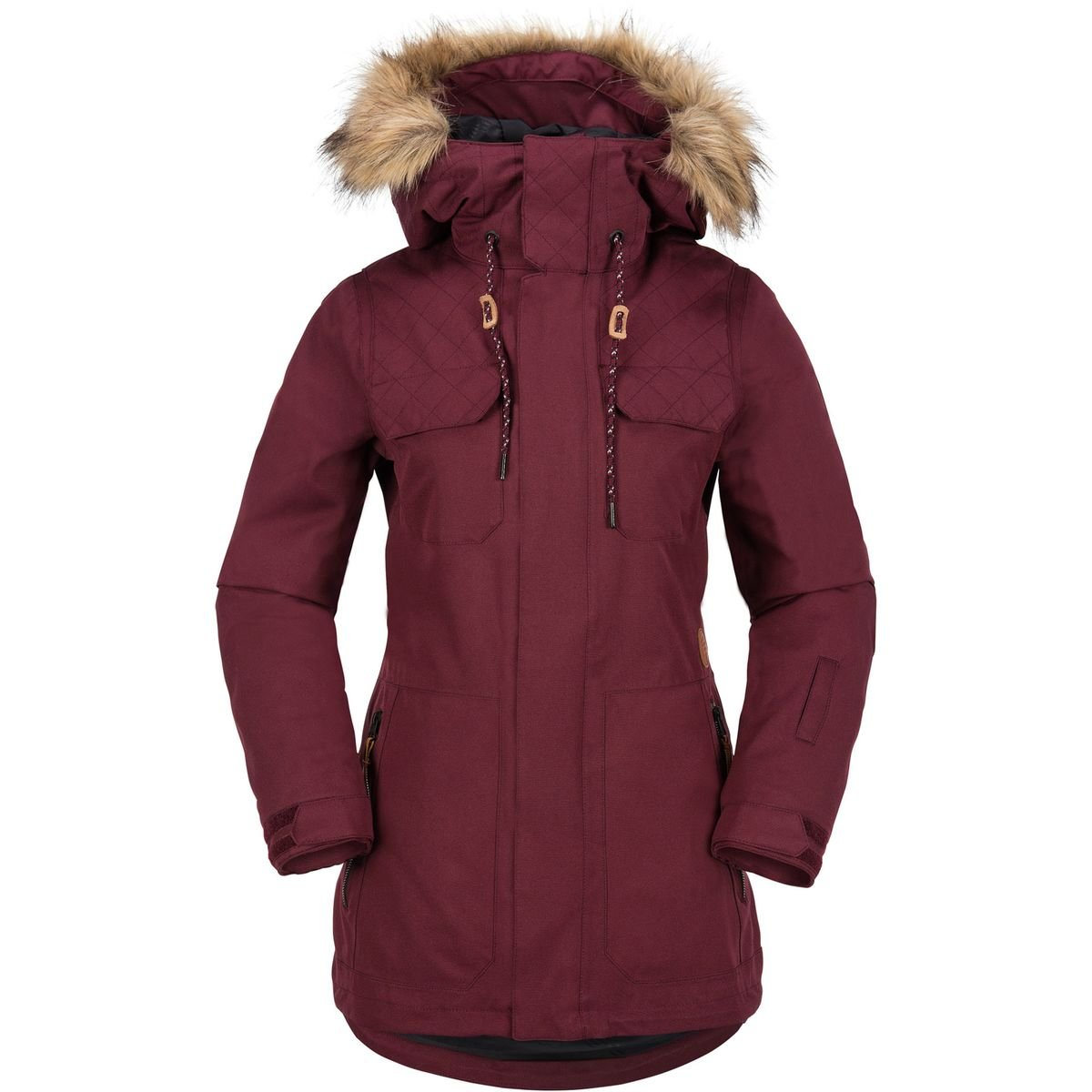 Volcom Junior's Shadow Insulated 2 Layer Shell Snow Jacket, Black/Red, Small