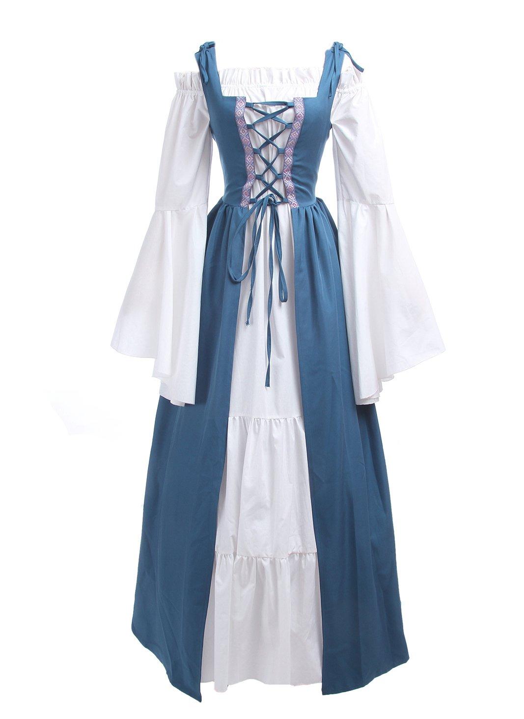 ROLECOS Womens Renaissance Medieval Irish Costume Boho Underdress Overdress Coat Light Blue L by ROLECOS (Image #2)