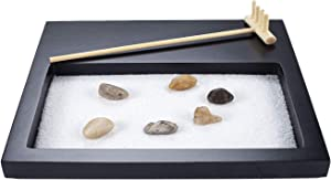 YJ Japanese Zen Sand Garden Mini Meditation Zen Garden Table Décor Kit with Accessories GR001