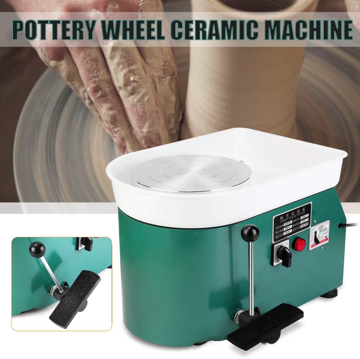 Electric Pottery Wheel 25cm 350W 110V Green Manual Foot Pedal Electric Embryo Drawing Machine Ceramic Art Ceramic Clay Machine
