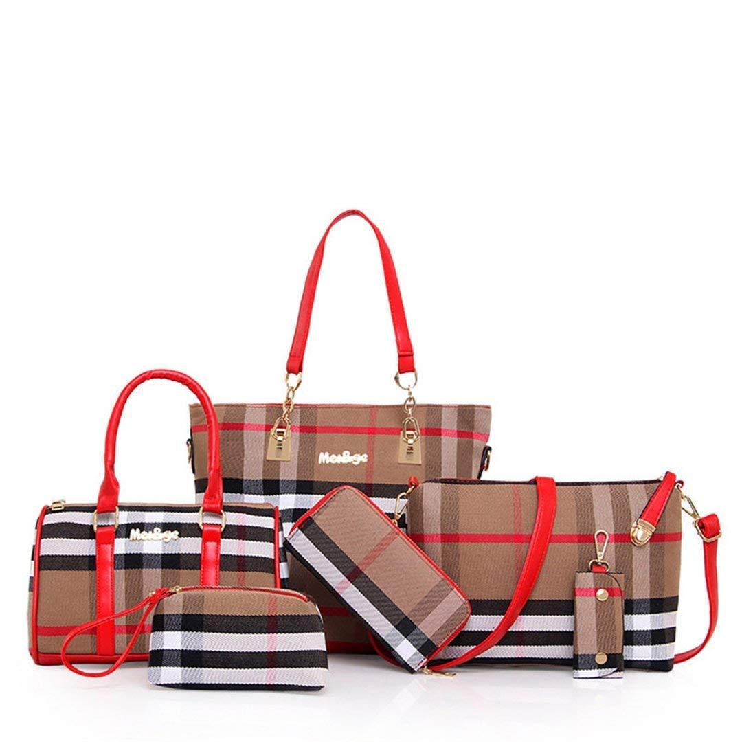 wewo 6 Pcs Set Women Handbag Zip Lady Large Shoulder Bag Tote Handbags For  Ladies Canvas Satchel Bag Plaid Crossbody Bag Fashion Purse Multiuse Clutch  ... 5b18986e80d11