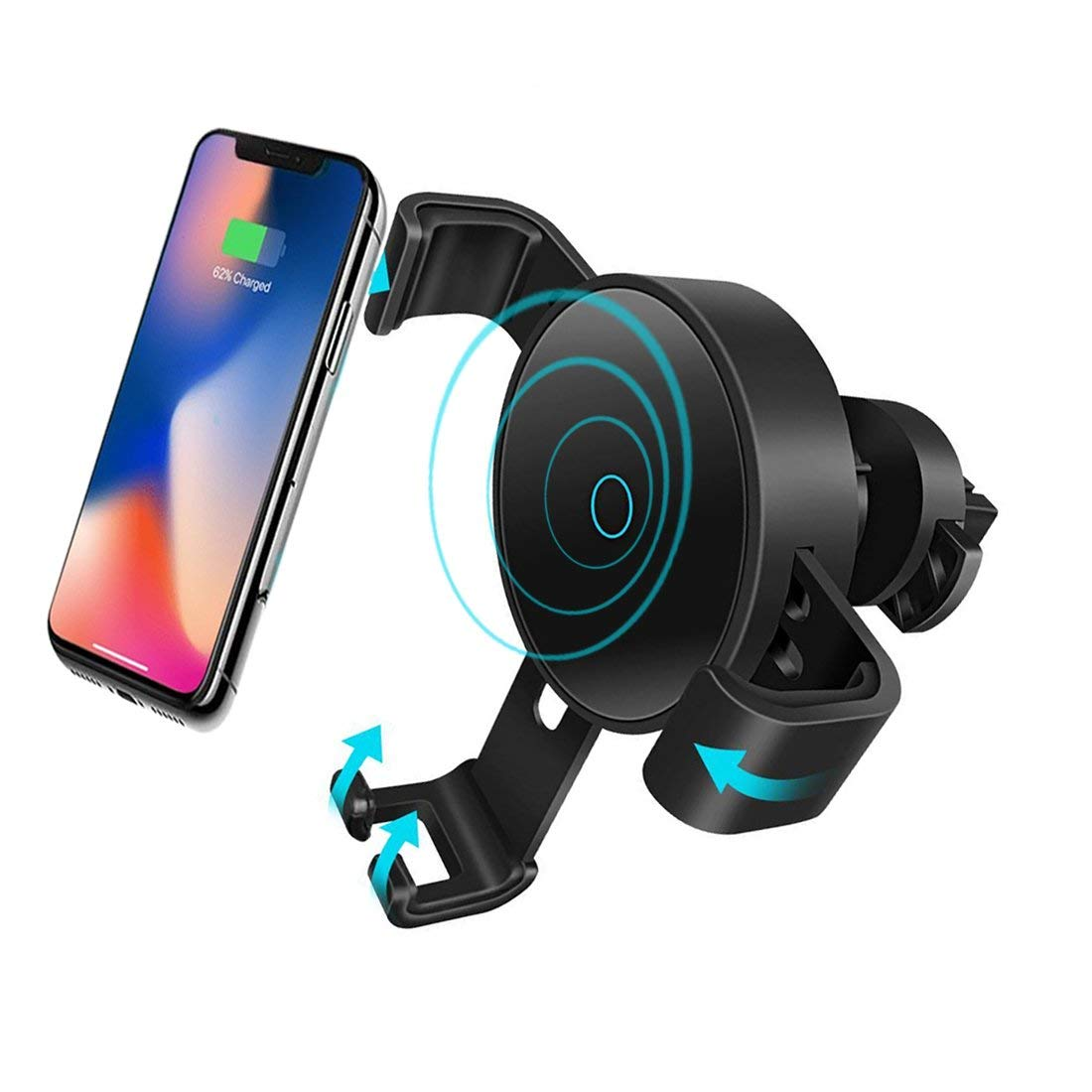 Newgam Wireless Car Charger, Qi Wireless Charger Car Mount, Fast Charging Compatible Samsung Galaxy S9/S9 Plus/S8/S8+/iPhone X/8/8 Plus, Air Vent Car Charger Mount Compatible All Qi Enabled Devices
