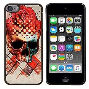 "For Apple iPod Touch 6 6th Touch6 Case , Rose Cráneo Muerte Ink Tattoo del rosa rojo"" - Diseño Patrón Teléfono Caso Cubierta Case Bumper Duro Protección Case Cover Funda"