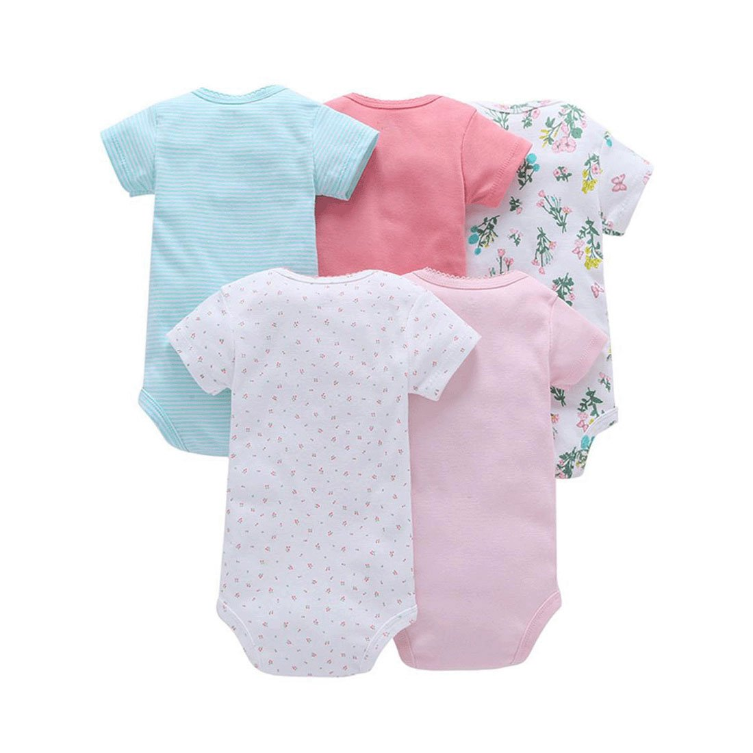 Molyveva Baby Girls Boys 5-Pack Short-Sleeve Romper Toddler Cotton Bodysuits