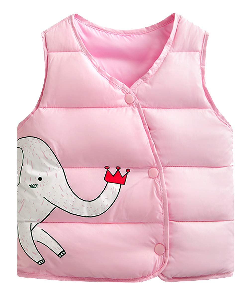 Sleeveless Baby Coat Collarless Vest Jacket Waistcoat Cute Elephant Printing Gilet Warm Jacket Outwear for Infant Red Happy Cherry
