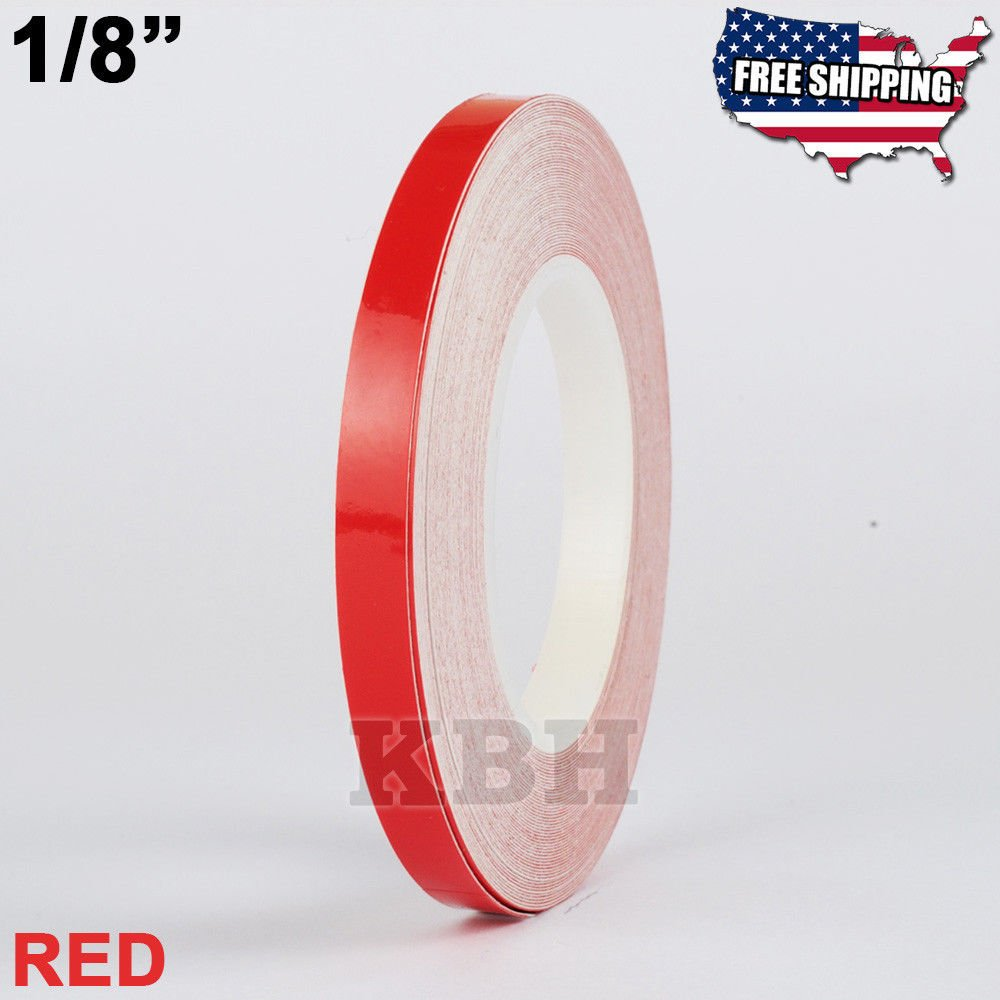 USA Premium Store 1/8'' Roll Vinyl Pinstriping Pinstripe Soild Line Tape Decal Sticker 3mm RED