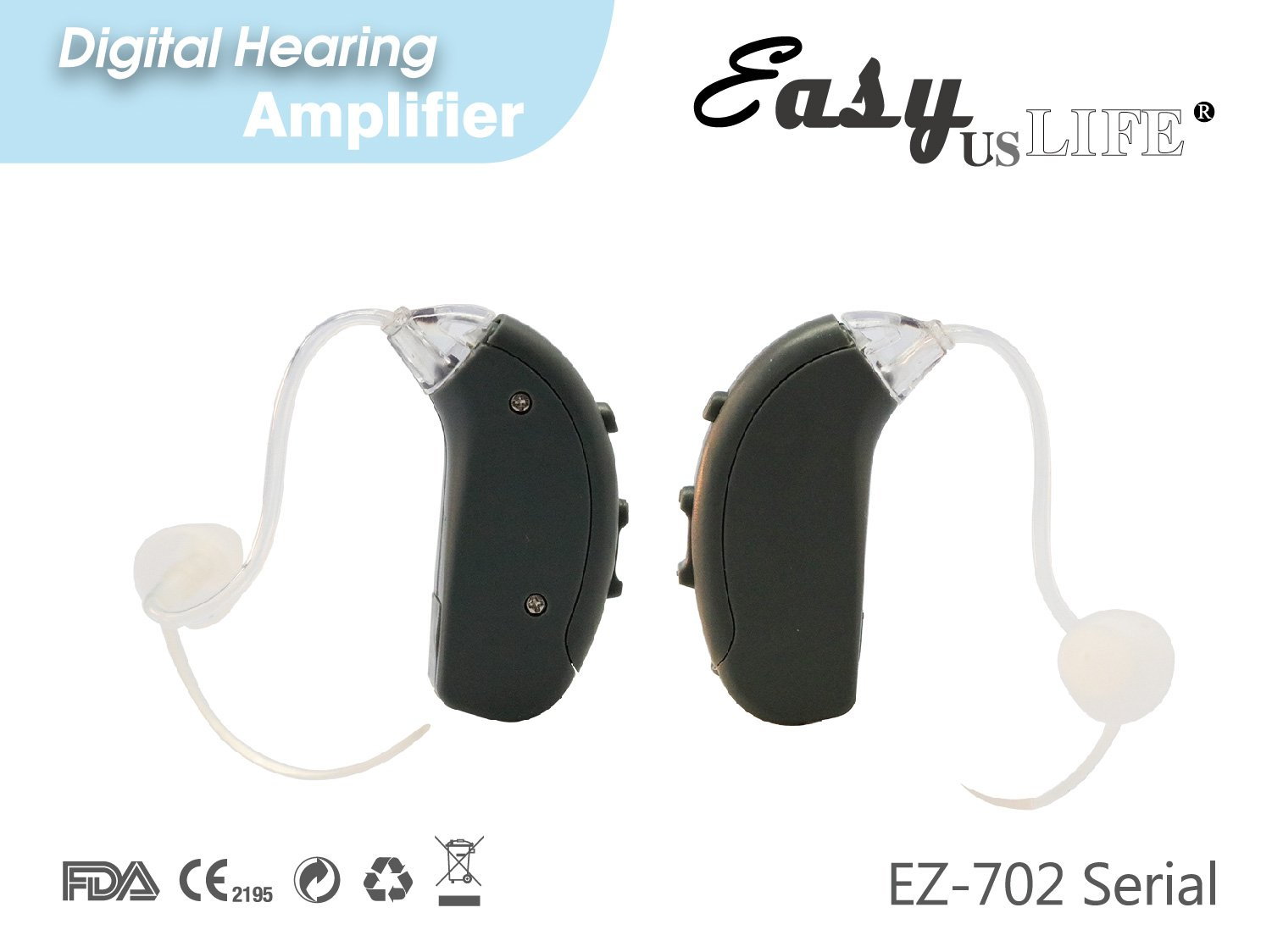 Easyuslife Ear Amplifiers Set Of 2 Hearing Amplifiers Dark Gray Devices With Digital Noise Cancellation , Discreet and Lightweight Ear Amplifying Machine With Volume and Frequency Control System