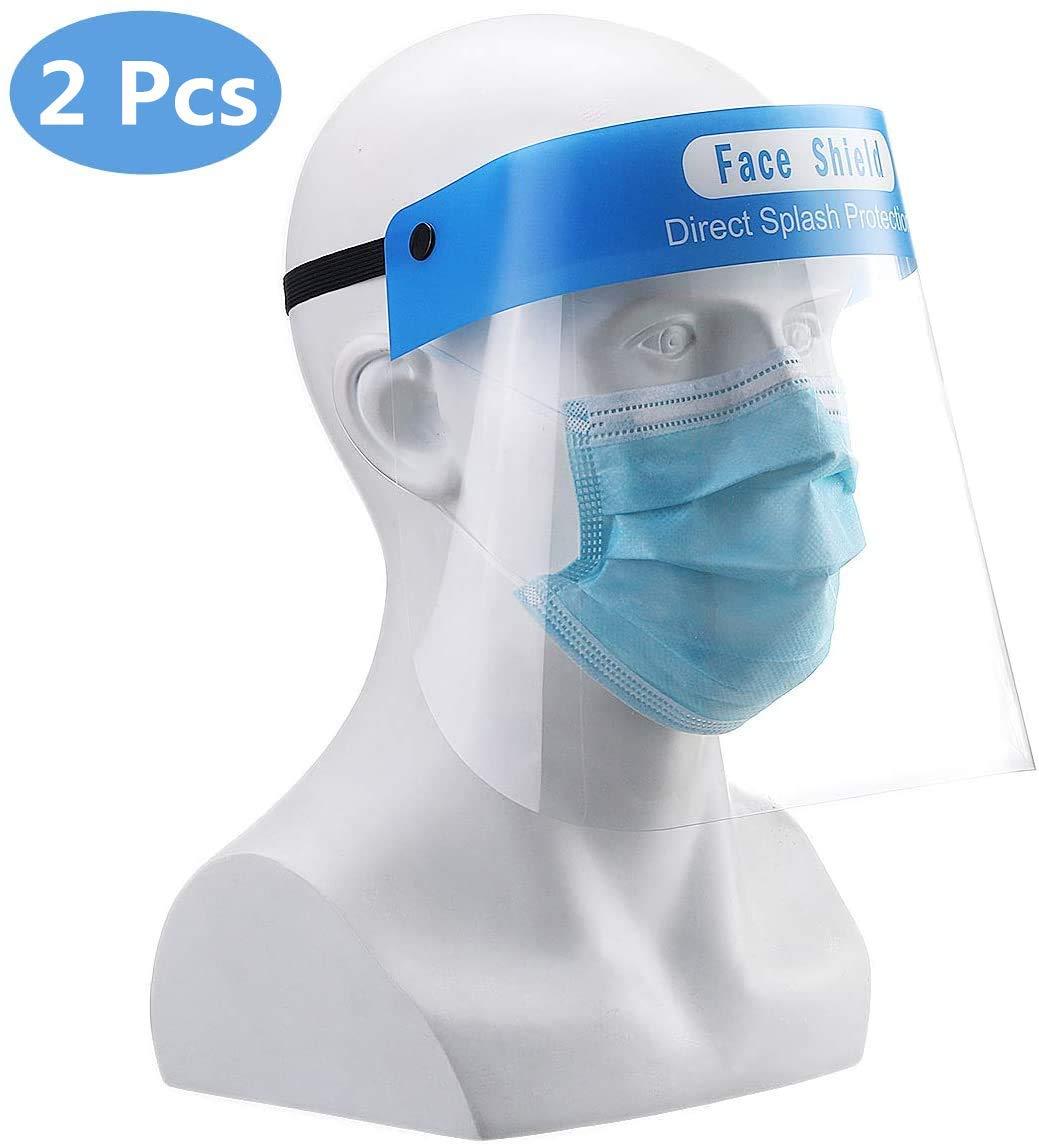 Godmorn 2Pcs Protectores Faciales de Seguridad PET,Aceite de Doble Cara Anti-Fog Anti Splash Transparente, protección visera, Ojo Protección